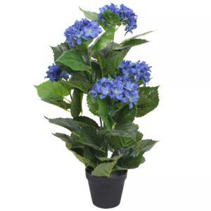 Planta hortênsia artificial com vaso 60 cm azul - PORTES GRÁTIS