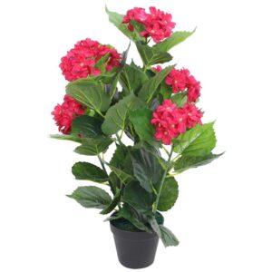 Planta hortênsia artificial com vaso 60 cm vermelha - PORTES GRÁTIS