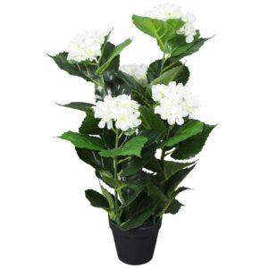 Planta hortênsia artificial com vaso 60 cm branco - PORTES GRÁTIS