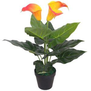 Planta jarro artificial com vaso 45 cm vermelho e amarelo - PORTES GRÁTIS