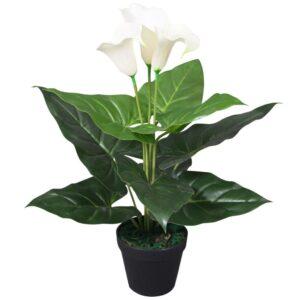 Planta jarro artificial com vaso 45 cm branco - PORTES GRÁTIS