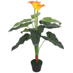 Planta jarro artificial com vaso 85 cm vermelho e amarelo - PORTES GRÁTIS