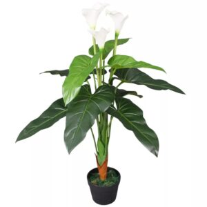 Planta jarro artificial com vaso 85 cm branco - PORTES GRÁTIS