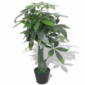 Planta árvore da sorte artificial com vaso 85 cm verde - PORTES GRÁTIS
