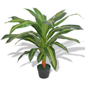 Planta dracena artificial com vaso 90 cm verde - PORTES GRÁTIS