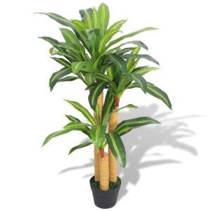 Planta dracena artificial com vaso 100 cm verde - PORTES GRÁTIS