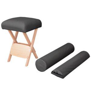 Banco massagens dobrável assento 12 cm espess. + 2 rolos preto - PORTES GRÁTIS