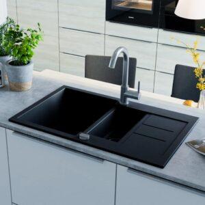 Lava-louça com cuba dupla granito preto  - PORTES GRÁTIS