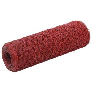 Cerca arame galinheiro 25x0,5m aço c/ revestimento PVC vermelho - PORTES GRÁTIS