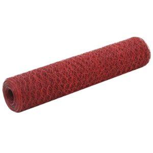 Cerca arame galinheiro 25x0,75 m aço revestido a PVC vermelho - PORTES GRÁTIS