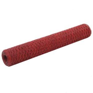 Cerca arame galinheiro 25x1 m aço c/ revestimento PVC vermelho - PORTES GRÁTIS