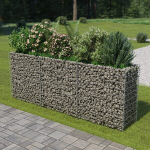 Gabião para plantas em aço galvanizado 270x50x100 cm - PORTES GRÁTIS