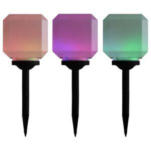 Candeeiro de exterior solar LED 3 pcs cúbico 20 cm RGB - PORTES GRÁTIS
