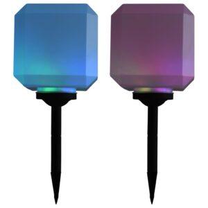 Candeeiro de exterior solar LED 2 pcs cúbico 20 cm RGB - PORTES GRÁTIS