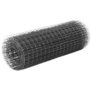 Cerca arame galinheiro 25x0,5m aço c/ revestimento PVC cinzento - PORTES GRÁTIS