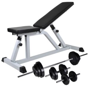 Banco musculação c/ conjunto de barras e halteres 30,5 kg - PORTES GRÁTIS