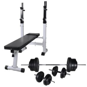 Banco musculação c/ suporte p/ pesos + barras e halteres 60,5kg - PORTES GRÁTIS