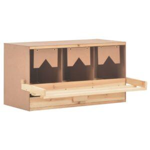 Ninho p/ galinhas 3 compartimentos 72x33x38 cm pinho maciço - PORTES GRÁTIS