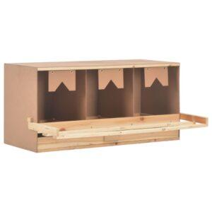 Ninho p/ galinhas 3 compartimentos 96x40x45 cm pinho maciço - PORTES GRÁTIS