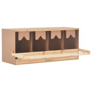 Ninho p/ galinhas 4 compartimentos 106x40x45 cm pinho maciço - PORTES GRÁTIS