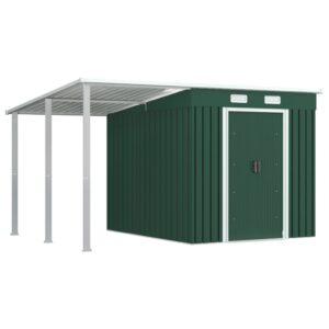Abrigo de jardim com alpendre 335x236x184 cm aço verde - PORTES GRÁTIS