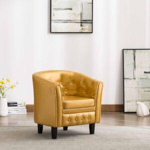 Poltrona em couro artificial dourado - PORTES GRÁTIS