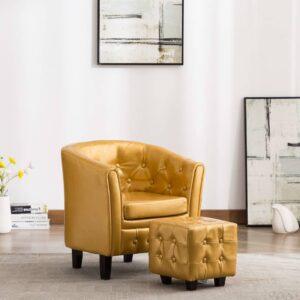 Poltrona com apoio de pés couro artificial dourado - PORTES GRÁTIS