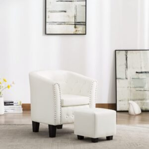 Poltrona com apoio de pés couro artificial branco - PORTES GRÁTIS