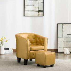 Poltrona com apoio de pés couro artificial dourado brilhante - PORTES GRÁTIS