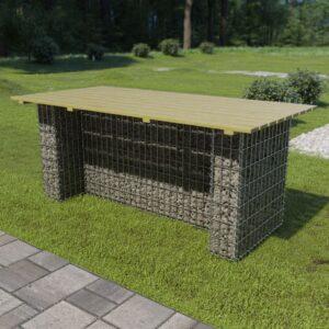 Mesa de jardim com gabião de aço 180x90x74 cm pinho FSC - PORTES GRÁTIS