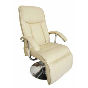 Cadeira de massagens couro artificial branco nata - PORTES GRÁTIS