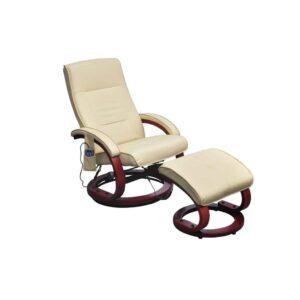 Cadeira massagens c/ apoio pés couro artificial creme - PORTES GRÁTIS