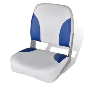 Assento barco dobrável + encosto, branco e azul, 41 x 36 x 48 cm - PORTES GRÁTIS