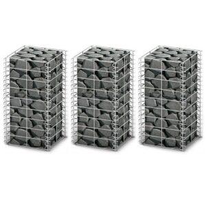 Conjunto de gabiões 3 pcs arame galvanizado 25 x 25 x 50 cm  - PORTES GRÁTIS
