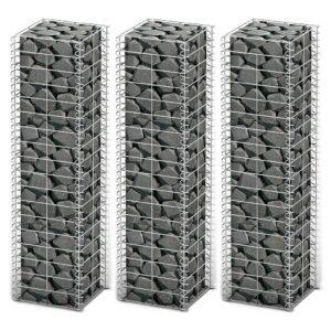 Conjunto de gabiões 3 pcs arame galvanizado 25 x 25 x 100 cm  - PORTES GRÁTIS