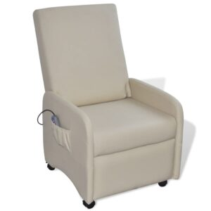 Cadeira de massagens couro artificial creme - PORTES GRÁTIS