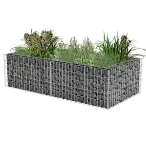 Gabião para plantas em aço galvanizado 180x90x50 cm - PORTES GRÁTIS