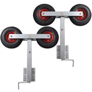 Conjunto de 2 suportes duplos, com roda, para reboque de barco - PORTES GRÁTIS