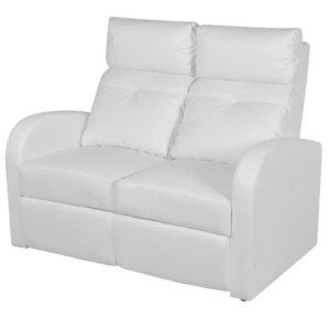 Poltrona reclinável de 2 lugares couro artificial branco  - PORTES GRÁTIS