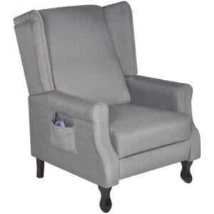Cadeira de massagem elétrica reclinável cinzento  - PORTES GRÁTIS