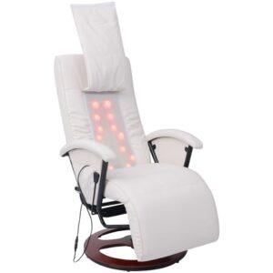 Cadeira de massagens shiatsu couro artificial branco - PORTES GRÁTIS