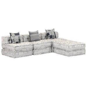 Sofá-cama modular de 3 lugares tecido cinzento - PORTES GRÁTIS