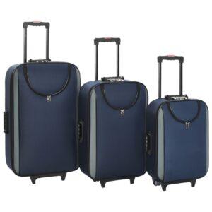 Malas de viagem com rodas 3 pcs tecido oxford azul-escuro - PORTES GRÁTIS