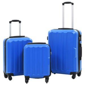 Conjunto de tróleis estojo rígido 3 pcs ABS azul - PORTES GRÁTIS