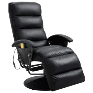 Cadeira de massagens reclinável em couro artificial preto - PORTES GRÁTIS
