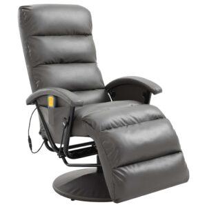 Cadeira de massagens reclinável em couro artificial cinzento - PORTES GRÁTIS