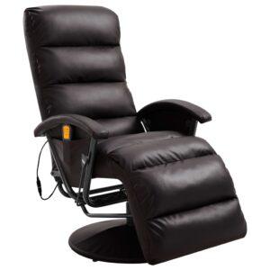 Cadeira de massagens reclinável em couro artificial castanho - PORTES GRÁTIS
