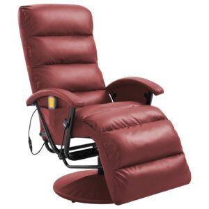 Cadeira de massagens reclinável couro artificial vermelho tinto - PORTES GRÁTIS