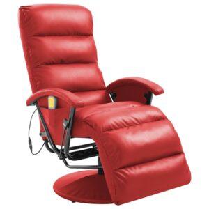 Cadeira de massagens reclinável couro artificial vermelho - PORTES GRÁTIS