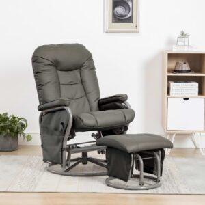Cadeira reclinável c/ apoio de pés couro artificial cinzento - PORTES GRÁTIS